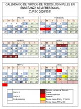 Calendario Turnos semipresencialidad